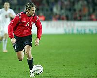 Fotball / Soccer<br /> Play off VM 2006 / Play off World Champio0nships 2006<br /> Tsjekkia v Norge 1-0<br /> Czech Republic v Norway 1-0<br /> Agg: 2-0<br /> 16.11.2005<br /> Foto: Morten Olsen, Digitalsport<br /> <br /> Thorstein Helstad - Rosenborg