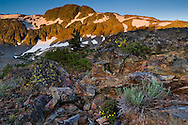 Alpenglow at sunrise on Cracked Crag, Desolation Wilderness, El Dorado National Forest, California