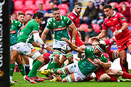 Irne Herbst of Benetton Treviso offloads the ball<br /> <br /> Photographer Craig Thomas/Replay Images<br /> <br /> Guinness PRO14 Round 3 - Scarlets v Benetton Treviso - Saturday 15th September 2018 - Parc Y Scarlets - Llanelli<br /> <br /> World Copyright &copy; Replay Images . All rights reserved. info@replayimages.co.uk - http://replayimages.co.uk