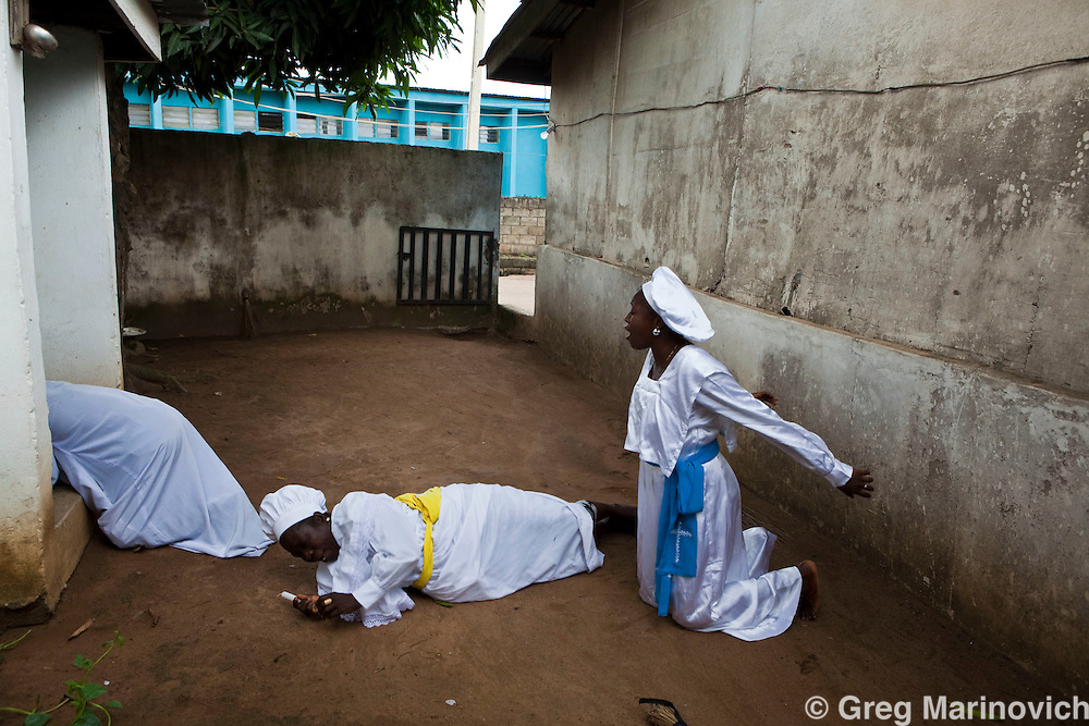 Lagos, Nigeria, October 11, 2009. The Celestial Church of Christ, Karaole Estate Parish, was founded in 1947, has churches throughout Africa. The Mercy Place at the rear of the church is where adherents pray and prophesy. Greg Marinovich
