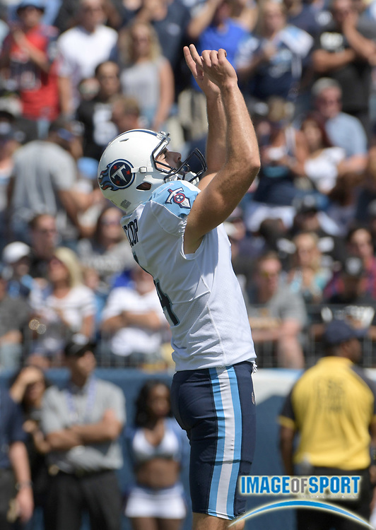 Sep 10, 2017; Nashville, TN, USA; Tennessee Titans kicker Ryan Succop (4) celebrates after kicking a 26-yard field goal in the second quarter against the Oakland Raiders during a NFL football game at Nissan Stadium. The Raiders defeated the Titans 26-16.