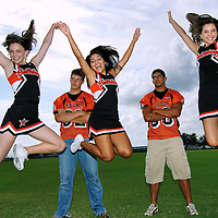 High school cheerleaders and football players from Orange Grove, Texas.