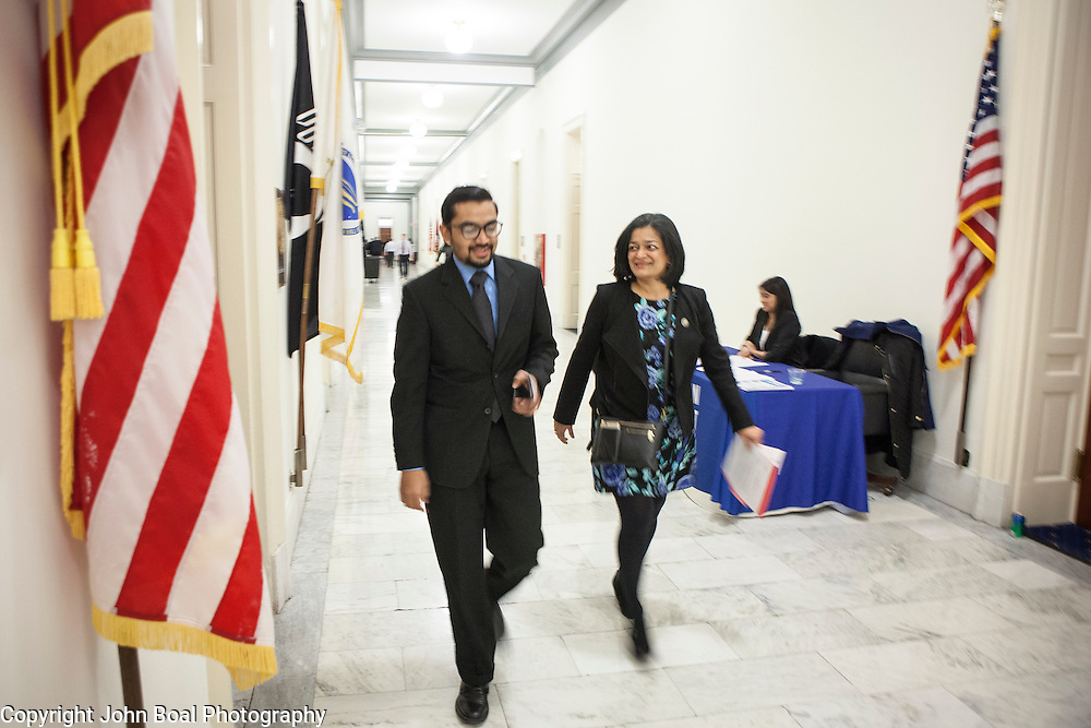 """Representative Pramila Jayapal (D-WA, 7), accompanied by Communications Director, Omer Farooque, walk to the United States Capitol from her office to support the introduction of H.R 724 by Rep. Zoe Lofgren (D-CA) to """"revoke President Trump's January 27, 2017 executive order...[and] block funding for any enforcement of the order,"""" on Tuesday, January 31, 2017.  John Boal photo/for The Stranger"""