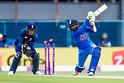 India ODI all rounder Dinesh Karthik  is bowled by England ODI bowler Adil Rashid  during the 3rd Royal London ODI match between England and India at Headingley Stadium, Headingley, United Kingdom on 17 July 2018. Picture by Simon Davies.