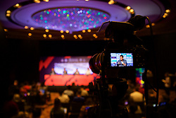 HONG KONG, CHINA - Tuesday, July 18, 2017: Liverpool's goalkeeper Simon Mignolet filmed on a camera during a press conference at the Grand Hyatt Hotel Hong Kong ahead of the Premier League Asia Trophy 2017. (Pic by David Rawcliffe/Propaganda)