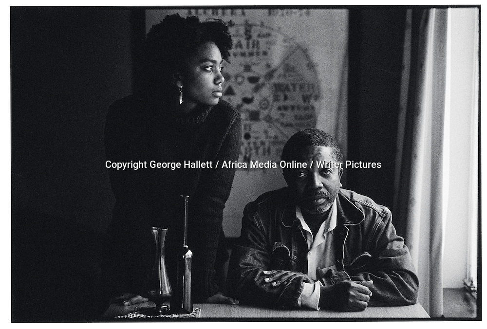 John Matshikiza and daughter Lindiwe. 1954 - 2008. b. Johannesburg South Africa. Worked in the theatre, film and television and was a writer and poet and a political activist.Works include 'South Where Her Feet Cool on Ice' and 'Prophets in the Black Sky'.Here he is with his daughter Lindiwe. <br /> <br /> Photograph by George Hallett/Writer Pictures<br /> <br /> NO AGENCY, DIRECT SALES ONLY