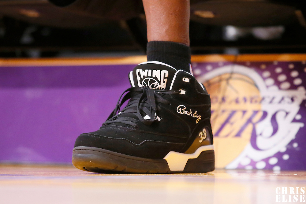 31 January 2014: Close view of Patrick Ewing shoes prior to the Charlotte Bobcats 110-100 victory over the Los Angeles Lakers at the Staples Center, Los Angeles, California, USA.