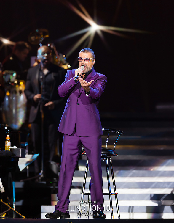 George Michael performs on the first night of his 2012 UK Symphonica tour at the LG Arena, Birmingham, United Kingdom<br /> Picture Date: 16 September, 2012