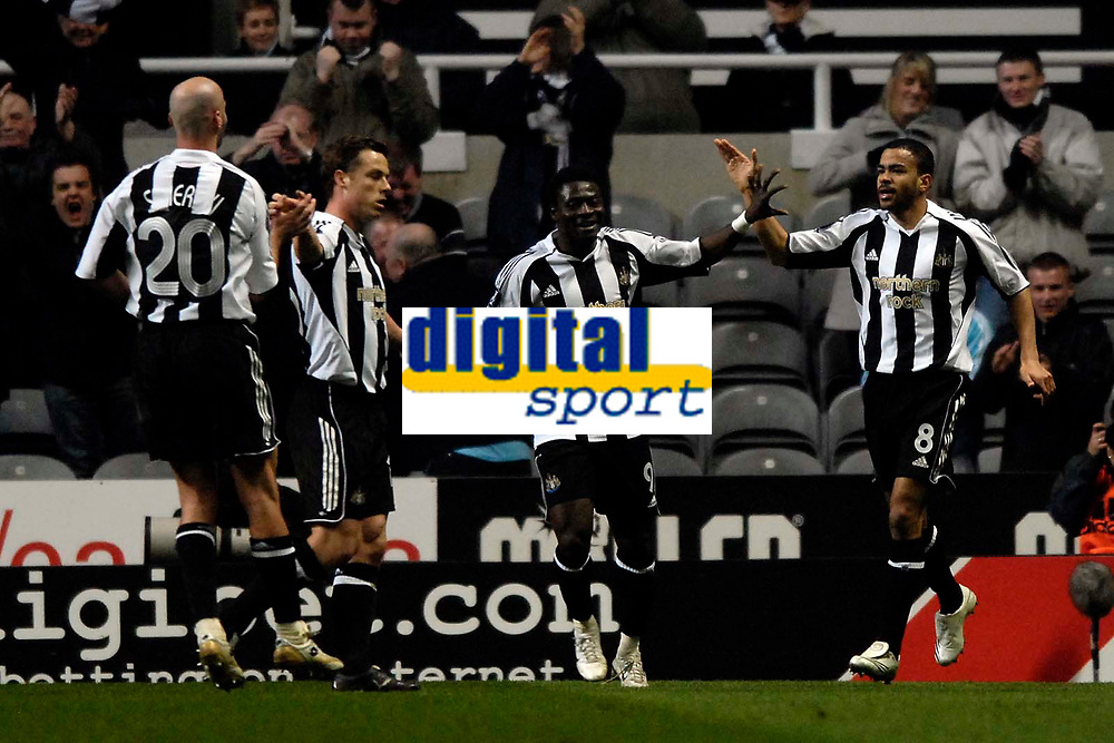 Photo: Jed Wee/Sportsbeat Images.<br /> Newcastle United v AZ Alkmaar. UEFA Cup. 08/03/2007.<br /> <br /> Newcastle's Kieron Dyer (R) celebrates his goal by acknowledging the contribution of team mate Antoine Sibierski.