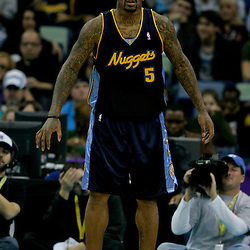 Dec 18, 2009; New Orleans, LA, USA; Denver Nuggets guard J.R. Smith (5) on the court against the New Orleans Hornets during the second half at the New Orleans Arena. The Hornets defeated the Nuggets 98-92. Mandatory Credit: Derick E. Hingle-US PRESSWIRE