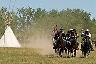 Custers Last Stand Reenactment. Crow Indian Reservation on Little Bighorn River, Montana, 7th Cavalry .