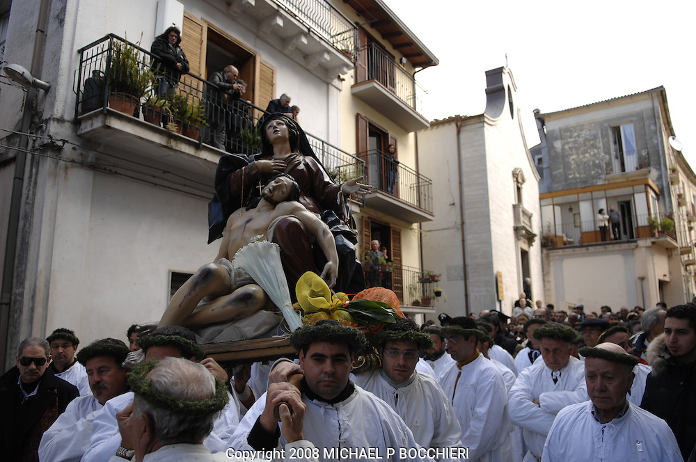Nocera Tirinese, Calabria - MARCH 22: General views during the Rito Dei Battienti (rite of the beaters) March 22, 2008 in Nocera Tirinese, Calabria, Italy. A yearly Easter ritual dating back to the mid-13th century the Processione della Addolorata (procession of the Golden Madonna) and Rito dei Battienti (rite of the beaters) includes devote Catholics that flagellant themselves in the streets and jog the route of the Easter procession, enduring the pain and suffering of religious sacrifice in the name of spiritual cleansing. (Photo by Michael Bocchieri/Bocchieri Archive)