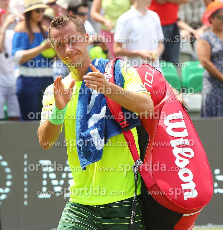 12.06.2015, Tennis Club Weissenhof, Stuttgart, GER, ATP Tour, Mercedes Cup Stuttgart, Viertelfinale, im Bild Philipp Kohlschreiber ( GER ) bedankt sich bei den Stuttgarter Publikum // during quarter Finals of Mercedes Cup of ATP world Tour at the Tennis Club Weissenhof in Stuttgart, Germany on 2015/06/12. EXPA Pictures &copy; 2015, PhotoCredit: EXPA/ Eibner-Pressefoto/ Langer<br /> <br /> *****ATTENTION - OUT of GER*****