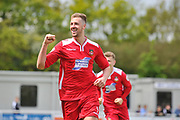 Wrexham AFC Forward, Jordan White (9) celebrates after scoring a goal to make it 0-1 during the Vanarama National League match between Eastleigh and Wrexham FC at Arena Stadium, Eastleigh, United Kingdom on 29 April 2017. Photo by Adam Rivers.