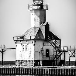 St. Joseph Lighthouse Black and White Picture. The St. Joseph Lighhouse is located in Southwestern Michigan on Lake Michigan. The photo is high resolution and was taken in 2013. Image Copyright © Paul Velgos All Rights Reserved.