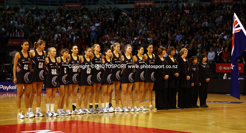 Silver Ferns stand in line for the national anthem.<br />