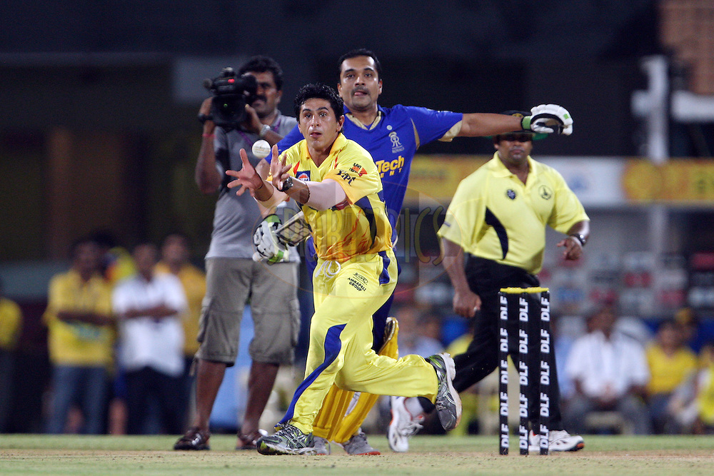 Tommy Simsek fields off his own bowling during match 26 of the the Indian Premier League ( IPL) 2012  between The Chennai Superkings Owners and the Rajasthan Royals Owners held at the M. A. Chidambaram Stadium, Chennai on the 21st April 2012..Photo by Jacques Rossouw/IPL/SPORTZPICS