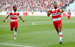 BEN AROUS, TUNIS - MAY 13: Saber Khalifa of Club Africain celebrates after scoring a goal during the Tunisian Cup final match  between Etoile Sahel and Club Africain  at Rades Stadium in Ben Arous, Tunisia on May 13, 2018. Nacer Talel / Anadolu Agency  | BRAA20180513_876 Ben Arous Tunisie Tunisia