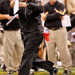 August 27, 2010; New Orleans, LA, USA; New Orleans Saints head coach Sean Payton calls a timeout against the San Diego Chargers during the second quarter of a preseason game at the Louisiana Superdome. Mandatory Credit: Derick E. Hingle