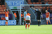 Blackpool miss a shot during the EFL Sky Bet League 1 match between Blackpool and Accrington Stanley at Bloomfield Road, Blackpool, England on 25 August 2018.
