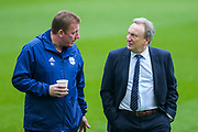 Cardiff City manager Neil Warnock in conversation with Cardiff City first team coach Ronnie Jepson ahead of the Premier League match between Newcastle United and Cardiff City at St. James's Park, Newcastle, England on 19 January 2019.