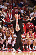 FAYETTEVILLE, AR - FEBRUARY 2:   Head Coach John Pelphrey of the Arkansas Razorbacks questions a call during a game against the Florida Gators at Bud Walton Arena on February 2, 2008 in Fayetteville, Arkansas.  The Razorbacks defeated the Gators 80-61.  (Photo by Wesley Hitt/Getty Images) *** Local Caption *** John Pelphrey