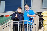 Two Hartlepool United fans before the EFL Sky Bet League 2 match between Newport County and Hartlepool United at Rodney Parade, Newport, Wales on 28 January 2017. Photo by Andrew Lewis.