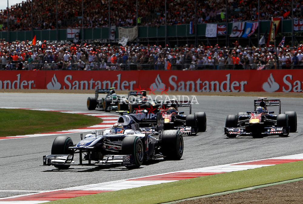Motorsports / Formula 1: World Championship 2010, GP of Great Britain, 10 Nico Huelkenberg (GER, AT&T Williams),  17 Jaime Alguersuari (ESP, Scuderia Toro Rosso), 16 Sebastien Buemi (SUI, Scuderia Toro Rosso),