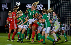 NEWPORT, WALES - Tuesday, September 3, 2019: Northern Ireland's Rachel Newborough clears the ball during the UEFA Women Euro 2021 Qualifying Group C match between Wales and Northern Ireland at Rodney Parade. (Pic by David Rawcliffe/Propaganda)