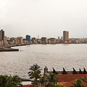View of Havna skyline and El Malecon from Fortaleza de San Carlos de la Caba&ntilde;a on the east side of the port.<br /> Photography by Jose More
