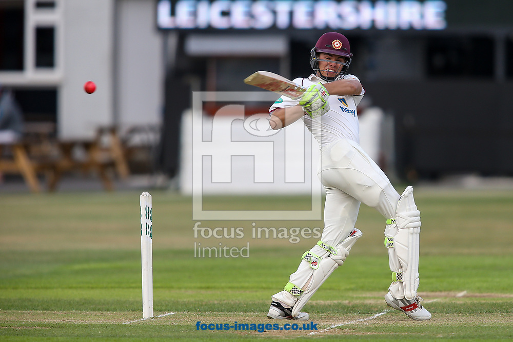 Max Holden of Northamptonshire CCC hits the pink ball to the boundary during the Specsavers County C'ship Div Two match at the County Ground, Northampton<br /> Picture by Andy Kearns/Focus Images Ltd 0781 864 4264<br /> 26/06/2017