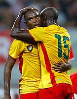 Fotball<br /> Østerrike v Kamerun<br /> 12.08.2009<br /> Foto: Gepa/Digitalsport<br /> NORWAY ONLY<br /> <br /> Bild zeigt den Jubel von Samuel Eto'o und Achille Webo (CMR)