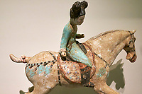 France, Paris (75), Musée Guimet, joueuses de polo, Chine du Nord, dynastie Tang, VIII siècle // France, Paris, Guimet museum, polo player, China, Tang dynasty, 8th century