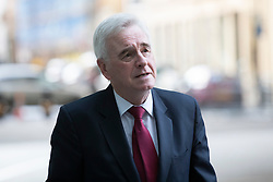 © Licensed to London News Pictures. 08/03/2020. London, UK. Shadow Chancellor of the Exchequer John McDonnell arrives at the BBC. Later he will appear on the Andrew Marr Show. Photo credit: George Cracknell Wright/LNP