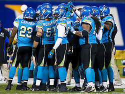 November 19, 2009; San Francisco, CA, USA;  Florida Tuskers huddle during the first quarter against the California Redwoods at AT&T Park. Florida defeated California 34-27.