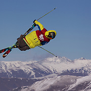 Vincent Gagnier, Canada, in action in the Slopestyle Finals during The North Face Freeski Open at Snow Park, Wanaka, New Zealand, 2nd September 2011. Photo Tim Clayton...