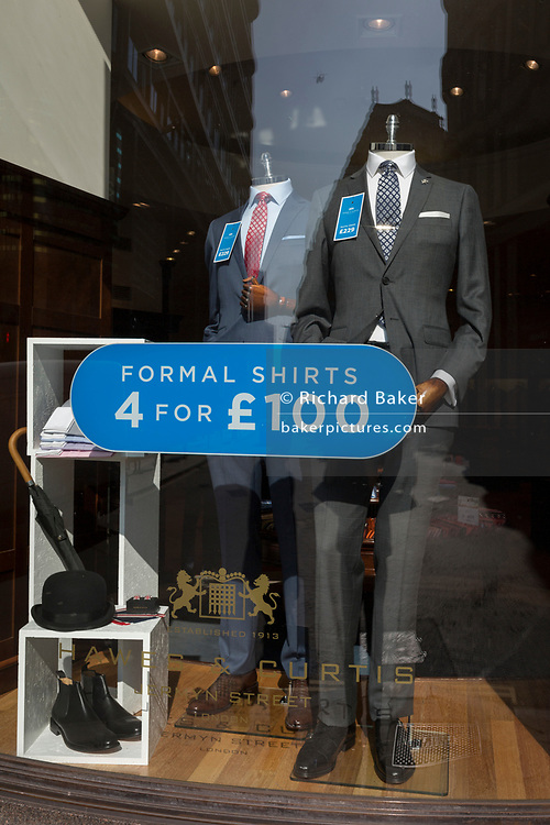 A menswear window display on Threadneedle Street in the City of London, the capital's financial district also known as the Square Mile, on 6th April 2017, in London, England.