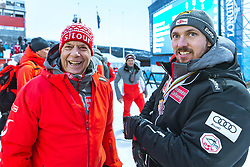 17.02.2019, Aare, SWE, FIS Weltmeisterschaften Ski Alpin, Slalom, Herren, Siegerehrung, im Bild v.l.: Prof. Peter Schröcksnadel (ÖSV Präsident), Weltmeister und Goldmedaillengewinner Marcel Hirscher (AUT) // f.l.: Peter Schroecksnadel Austrian Ski Association President World champion and gold medalist Marcel Hirscher of Austria during the winner Ceremony for the men's Slalom of FIS Ski World Championships 2019. Aare, Sweden on 2019/02/17. EXPA Pictures © 2019, PhotoCredit: EXPA/ Dominik Angerer