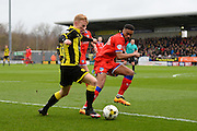 Burton Albion forward Mark Duffy puts pressure on the Oldham defence during the Sky Bet League 1 match between Burton Albion and Oldham Athletic at the Pirelli Stadium, Burton upon Trent, England on 26 March 2016. Photo by Jon Hobley.