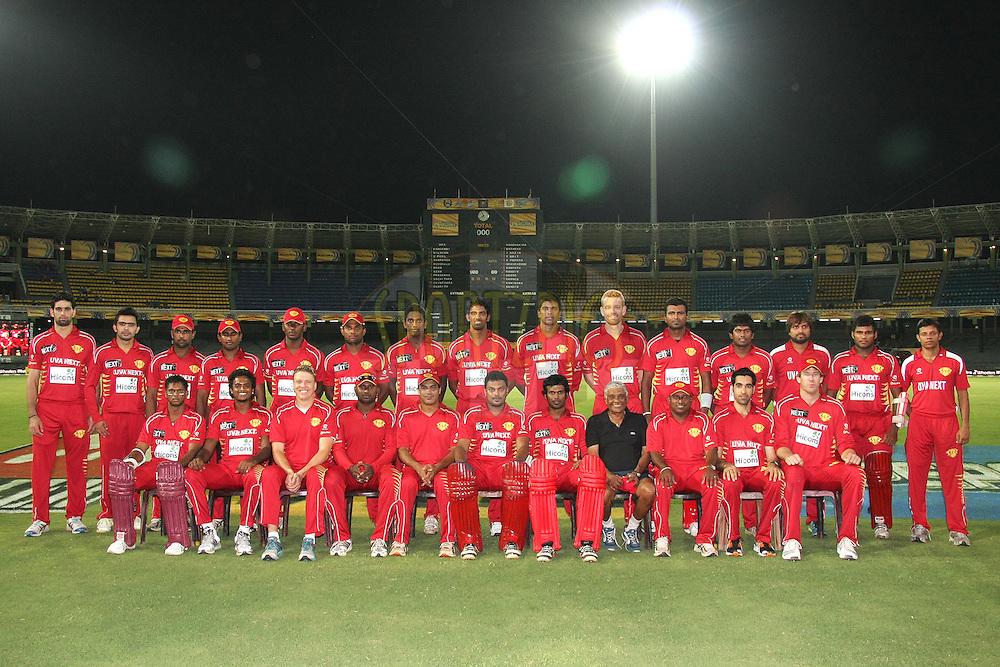 Uva Next squad photo during match 21 of the Sri Lankan Premier League between Uva Next and Nagenahiras held at the Premadasa Stadium in Colombo, Sri Lanka on the 27th August 2012. .Photo by Shaun Roy/SPORTZPICS/SLPL