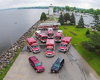 filretrucks at lakeside park, drone photo, uav