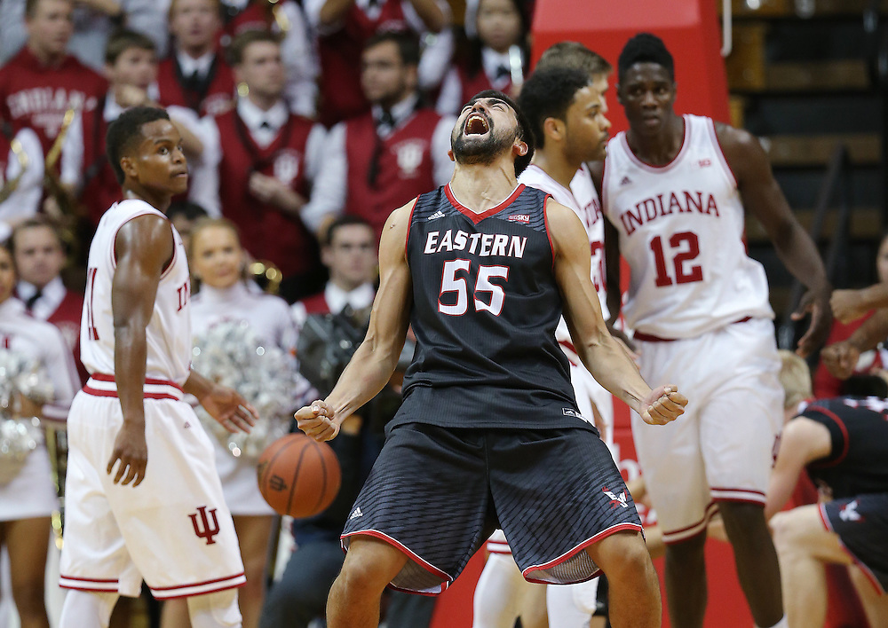 Eastern Washington Eagles forward Venky Jois celebrates a blocking foul on Indiana Hoosiers forward Hanner Mosquera-Perea late in the second half as his Eagles upset the Hoosiers 88-86. Indiana hosted Eastern Washington at Assembly Hall on Monday, November 24, 2014.