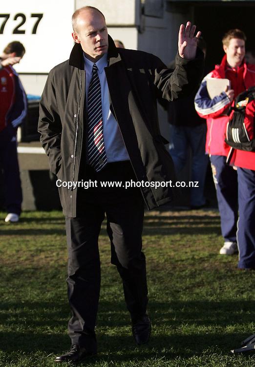 Clive Woodward waves as he walks onto the park for the Lions captain's run at Yarrow Stadium, New Plymouth, New Zealand on Tuesday 7 June, 2005. The Lions will play Taranaki tomorrow night. Photo: Hannah Johnston/PHOTOSPORT