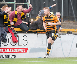 Alloa Athletic's Greg Spence (9) cele scoring their second goal. half time : Alloa Athletic 2 v 1 Brechin City, Ladbrokes Championship Play-Off 2nd Leg at Alloa Athletic's home ground, Recreation Park, Alloa.