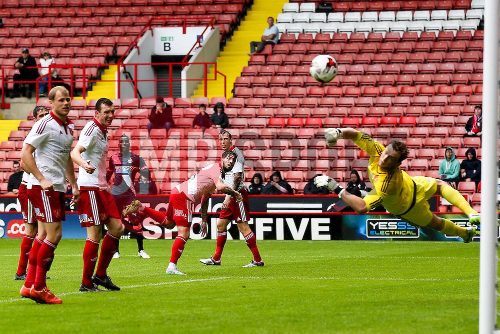 George Long of Sheffield United watches a shot by Massadio Haidara of Newcastle United go wide of the post - Mandatory by-line: Matt McNulty/JMP - 26/07/2015 - SPORT - FOOTBALL - Sheffield,England - Bramall Lane - Sheffield United v Newcastle United - Pre-Season Friendly