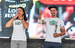 Primoz Roglic and his girlfriend Lora Klinc during reception of slovenian rider Primoz Roglic after Tour de France 2018 on August 6, 2018 in Ljubljana, Slovenia. Photo by Urban Meglic / Sportida