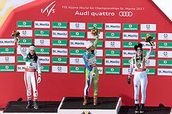 12.02.2017, St. Moritz, SUI, FIS Weltmeisterschaften Ski Alpin, St. Moritz 2017, Abfahrt, Damen, Flowerzeremonie, im Bild v.l. Stephanie Venier (AUT, Damen Abfahrt Silbermedaille), Ilka Stuhec (SLO, Damen Abfahrt Weltmeisterin), Lindsey Vonn (USA, Damen Abfahrt Bronzemedaille) // f.l. ladie's Downhill Silver medalist Stephanie Venier of Austria ladie's Downhill world Champion and Gold medalist Ilka Stuhec of Slovenia ladie's Downhill Bronze medalist Lindsey Vonn of the USA during the Flowers ceremony of ladie's Downhill of the FIS Ski World Championships 2017. St. Moritz, Switzerland on 2017/02/12. EXPA Pictures © 2017, PhotoCredit: EXPA/ Johann Groder