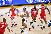 Golden State Warriors forward Kevin Durant (35) handles the ball against the Houston Rockets during Game 3 of the Western Conference Finals at Oracle Arena in Oakland, Calif., on May 20, 2018. (Stan Olszewski/Special to S.F. Examiner)