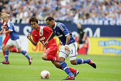 01.09.2012, BayArena, Leverkusen, GER, 1. FBL, Bayer 04 Leverkusen vs FC Augsburg, 2. Runde, im Bild v.l. Ja-Cheol Koo (FC Augsburg), Jermaine Jones (FC Schalke 04), Aktion // during the German Bundesliga 2nd round match between Bayer 04 Leverkusen and FC Augsburg at the BayArena, Leverkusen, Germany on 2012/09/01. EXPA Pictures © 2012, PhotoCredit: EXPA/ Eibner/ Oliver Vogler..***** ATTENTION - OUT OF GER *****