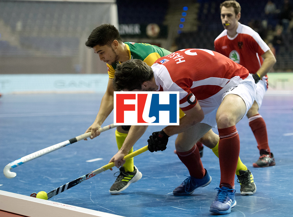 BERLIN - Indoor Hockey World Cup<br /> Austria - South Africa<br /> foto: HASUN Xaver (C)<br /> WORLDSPORTPICS COPYRIGHT FRANK UIJLENBROEK